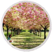 Round Beach Towel featuring the photograph Under The Cherry Blossom Trees by Nina Bradica