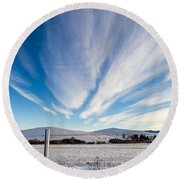 Round Beach Towel featuring the photograph Under Wyoming Skies by Michael Chatt