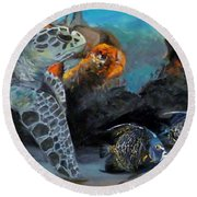 Round Beach Towel featuring the painting Underwater Beauty by Donna Tuten
