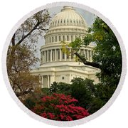 United States Capitol Round Beach Towel by Suzanne Stout