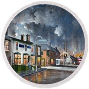 Round Beach Towel featuring the painting Upper High Street - Lye by Ken Wood
