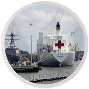 Us Naval Hospital Ship Comfort Round Beach Towel