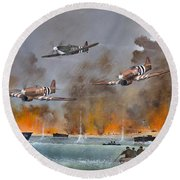 Round Beach Towel featuring the painting Utah Beach- June 6th 1944 by Ken Wood