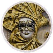 Venetian Carnaval Mask Round Beach Towel by David Smith