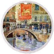 Venice Round Beach Towel by Pg Reproductions