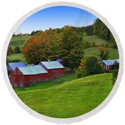 Vermont's Jenne Farm Round Beach Towel by John Vose
