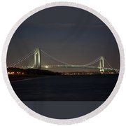 1 Verrazano Narrows Bridge At Twilight Round Beach Towel