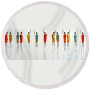 Vibrant Masai Warriors - Original Artwork Round Beach Towel
