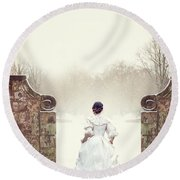 Victorian Woman In Snow Round Beach Towel by Lee Avison