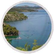 View Down From Sibenik Or Krka Bridge Round Beach Towel