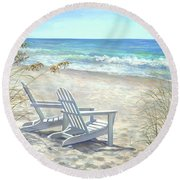 View For Two. Round Beach Towel
