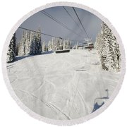 View Up Chairlift On Fresh Snow Round Beach Towel