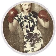 Vintage Boxing Pinup Poster Girl. Retro Fight Club Round Beach Towel