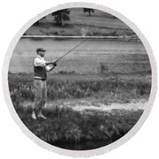Round Beach Towel featuring the photograph Vintage Fly Fishing by Ron White
