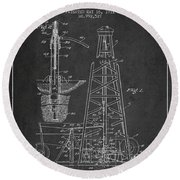 Vintage Oil Drilling Rig Patent From 1911 Round Beach Towel
