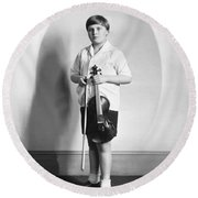 Violinist Yehudi Menuhin Round Beach Towel by Underwood Archives