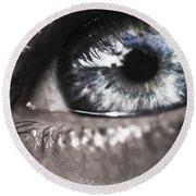 Visionary Blue Eye Watching Electric Skies Round Beach Towel