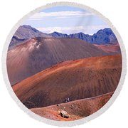 Volcanic Landscape With Mountains Round Beach Towel
