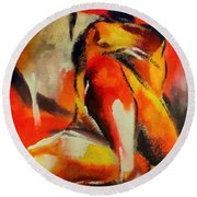 Round Beach Towel featuring the painting Waiting by Dragica  Micki Fortuna