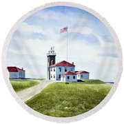 Watch Hill Ri Lighthouse Round Beach Towel