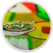 Water Crown Round Beach Towel