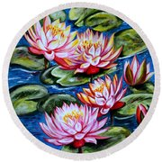 Round Beach Towel featuring the painting Water Lilies by Harsh Malik