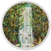 Waterfall Of Prosperity II Round Beach Towel