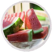 Watermelon Wedges In A Bowl Of Ice Cubes Round Beach Towel