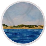 West Michigan Dunes Round Beach Towel