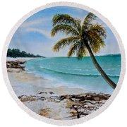 Round Beach Towel featuring the painting West Of Zanzibar by Sher Nasser