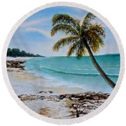 Round Beach Towel featuring the painting West Of Zanzibar by Sher Nasser