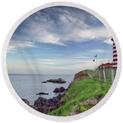 Round Beach Towel featuring the photograph West Quoddy Head Lighthouse by Alana Ranney
