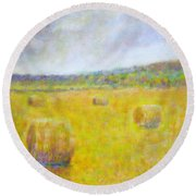 Wheat Bales At Harvest Round Beach Towel