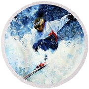 Round Beach Towel featuring the painting White Magic by Hanne Lore Koehler