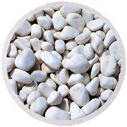 White Pebbles Round Beach Towel
