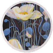 White Poppies Round Beach Towel