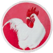 White Rooster Round Beach Towel by Jan Matson