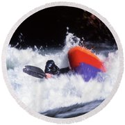 Whitewater Kayak Rodeo, British Round Beach Towel