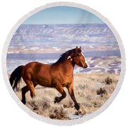 Eagle - Wild Horse Stallion Round Beach Towel