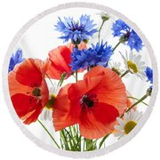 Wildflower Bouquet Round Beach Towel
