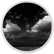 Windmill Electric Power Station Round Beach Towel