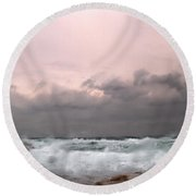 Window Sea Storm  Round Beach Towel
