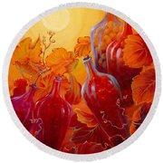 Round Beach Towel featuring the painting Wine On The Vine II by Sandi Whetzel