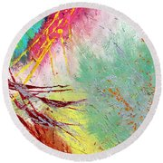 Modern Abstract Diptych Part 2 Round Beach Towel