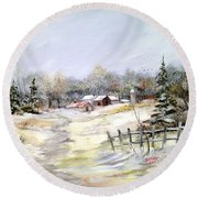 Winter At The Farm Round Beach Towel