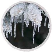 Winter Branches In Ice Round Beach Towel