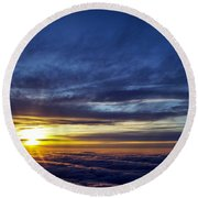 Round Beach Towel featuring the photograph Winter Dawn Over New England by Greg Reed