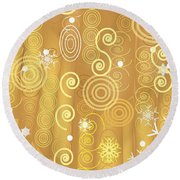 Round Beach Towel featuring the digital art Winter Dress Detail by Kim Prowse