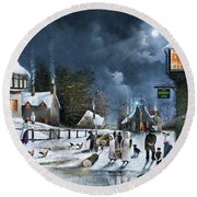 Round Beach Towel featuring the painting Winter Solstice by Ken Wood