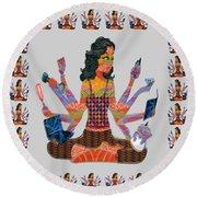 Modern Woman Female Spiritual Inspiration Multitasking Leadership Goddess Background Designs   Round Beach Towel